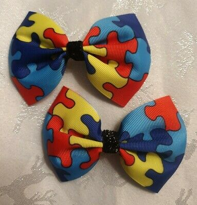 2x Girls Hair Bow Clips Autism Awareness Jigsaw Puzzle Love Heart Accessories