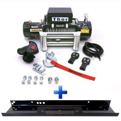 Electric Winch 12v 4x4 13500lb Blackline Wire Recovery Off Road Wireless + Plate