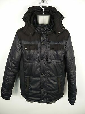 Mens Brave Soul Navy Blue Zip/Button Up Padded Hooded Puffer Coat Jacket Medium