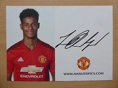 2018-19 Marcus Rashford Signed Man Utd Club Card (16288)