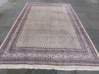 Vintage Hand Made Traditional Oriental Wool Cream White Large Carpet 315x220cm
