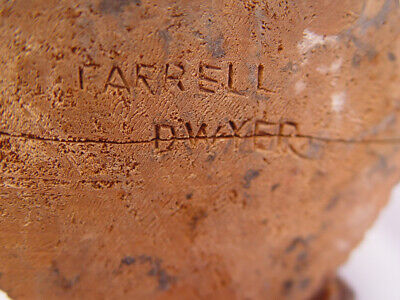 Signed Farrell Mayer WPA hand carved hunter with gun, dog & rabbit wood figure