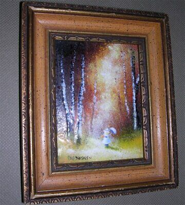 """Charles Parthesius Enamel On Copper Girl Umbrella Hat In Woods 4""""x3"""" in 6"""" Frame"""