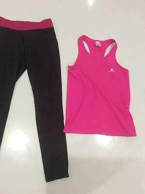 Girls Sports Leggings And Vest Sports Top Lycra Gym Style Age 10