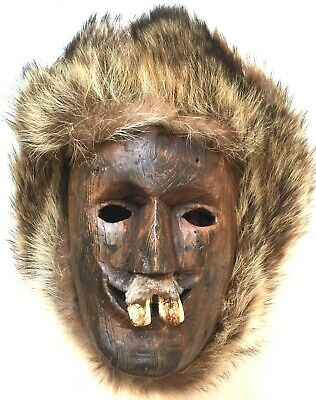 Inuit Style Contemporary Face Mask Hand Carved Cottonwood Wolf Fur & Elk Teeth