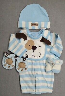 """NEW ~ /""""COZY Pup/"""" Super SOFT Baby Boy 0-3 month Outfit with Hat Reborn Clothes"""
