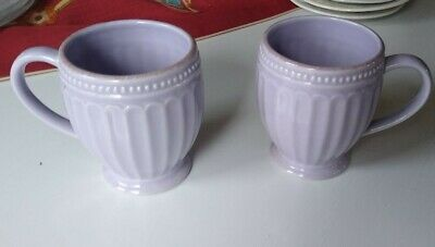 Lenox French Perle Groove VIOLET  lavender Coffee Cups Mug Set of 2 Replacement