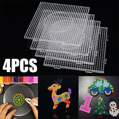 NEW 4X Large Square Pegboards for perler bead Hama Fuse Beads Clear Design Board