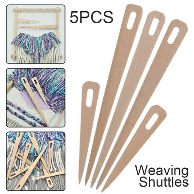 5X Wood Hand Loom Stick Wooden Shuttle Tapestry Weaving Knit Handcrafts Tool NEW