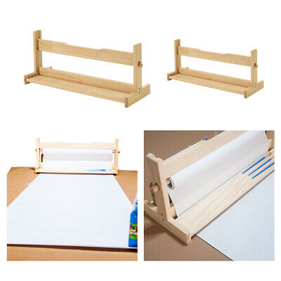 Portable Wood Paper Roll Dispenser Artist Craft Paper Holder for DrawingPainting