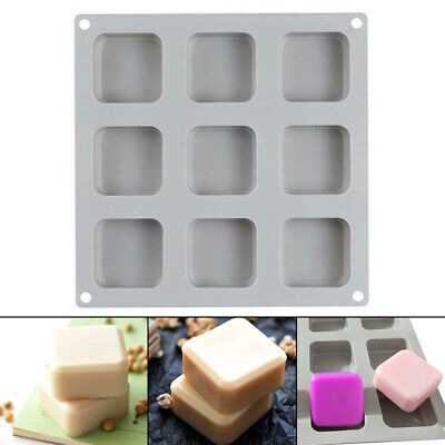 9 Grid Silicone Soap Mold Handmade Soap Making Square Baking Moulds Tool New