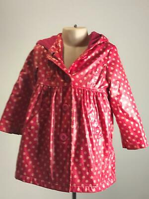 Girls Marks & Spencer Pink Polka Dot Hooded Rain Coat Jacket Kids Age 3-4 Years
