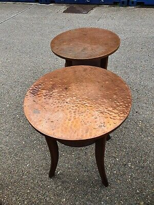 Vintage Round Hammered Copper Topped Occasional Table x 2