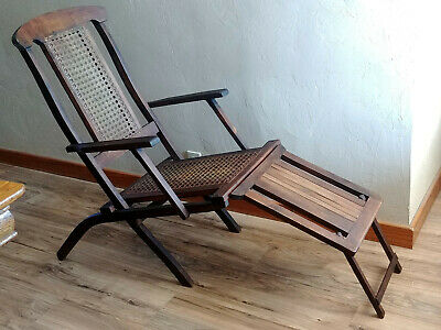 Antique Solid Wood Oak? Folding Caned Ocean Liner Ship Deck Lounge Chair