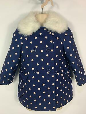 Girls Primark Blue Polka Dot Casual Winter Over Coat Jacket Kids Age 4/5 Years