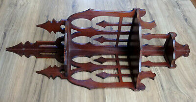 Antique 3 Tier Scroll Cut Fretwork Wood Gothic Corner Wall Knick Knack Shelf