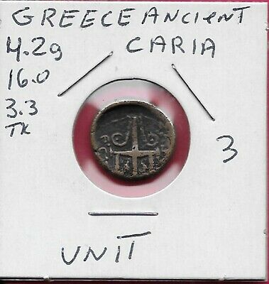 GREECE ANCIENT,CARIA,HALICARNASSUS 1 UNIT (2nd-1st Century BCE),BEARDED HEAD OF
