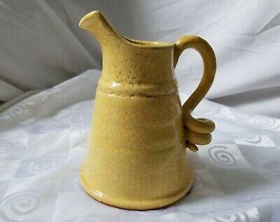 Vintage Hand Made Hand Turned Clay Pottery Yellow Glazed Pitcher Curled Handle