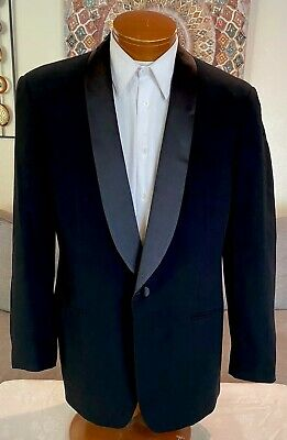 Giorgio Armani Black Label Black Wool Tuxedo Blazer Italy Sz 42 R MINT!