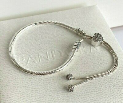 AUTHENTIC PANDORA MOMENTS Pave Heart Clasp Snake Chain Slider ...