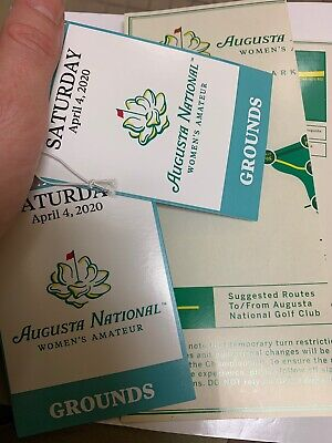 2 Augusta National Women's Amateur Tickets April 4, 2020 Masters ANGC