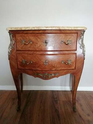 Antique French Louis XVI Style Bombe Marquetry Marble Top Chest Drawers