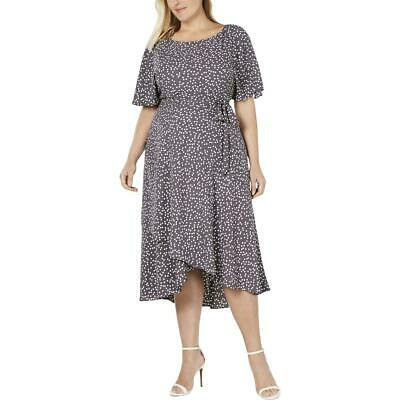 Anne Klein Womens Gray Polka Dot Tulip Hem Midi Dress Plus 22W BHFO 7421