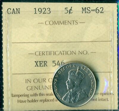 1923 Canada King George V Five Cent ICCS MS-62 XER 546