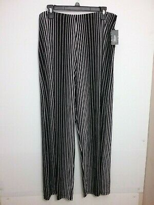 Alfani Women's Black Striped Stretch Wide Leg Pull On Pants Size L MSRP $69