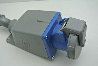CLEAN! Hubbell HBL 460R9W pin and sleeve receptacle 3p 60a 250v w/housing.