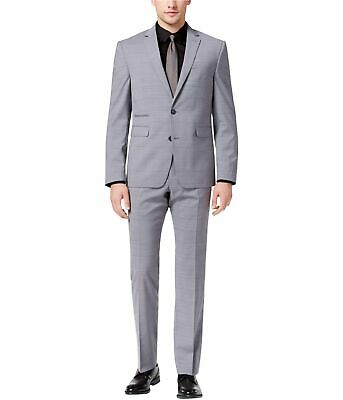Vince Camuto Mens Slim-Fit Windowpane Two Button Formal Suit, Grey, 38 Short /