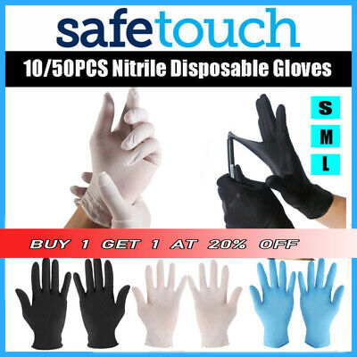 10/50 Disposable Gloves Blue Black Nitrile Latex Clear Vinyl Medical Powder Free