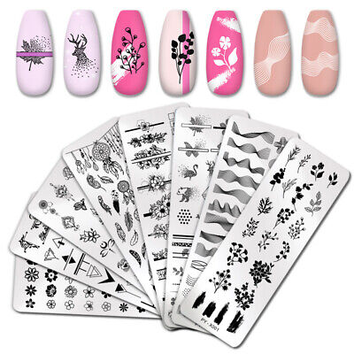 Pict You Flower Nail Stamping Plate Leaves Image Stencil Nail Art Templates DIY