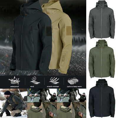 Mens Winter Waterproof Jacket Outdoor Tactical Military Soft Shell Coat Outwear
