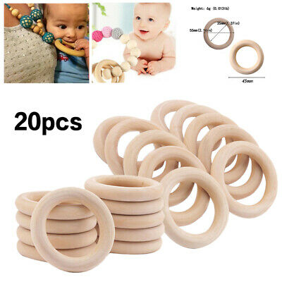 20pcs Baby Newborn Natural Round Wood Teething Ring Wooden Teether Toy DIY Gift