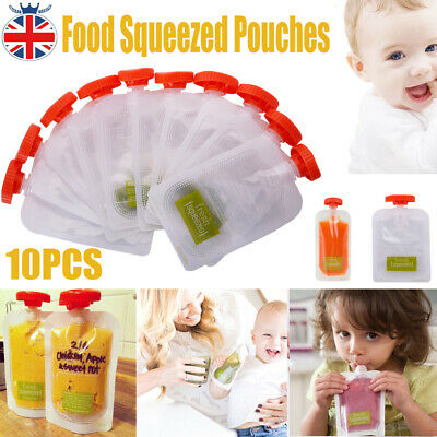 10PCS Baby Weaning Food Pouch Feeding Squeeze Storage Bag Portable Reusable Bags