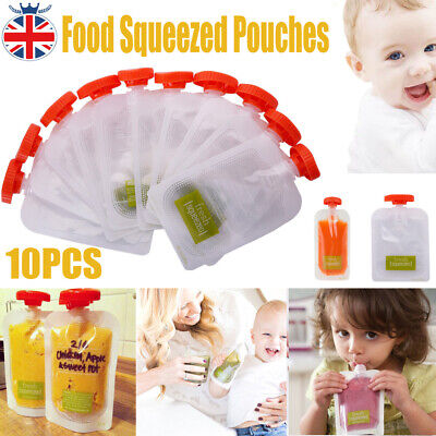 10PCS Baby Weaning Food Pouch Fresh Feeding Squeeze Storage Bag Portable Bags