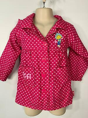 Girls Fifi &The Flower Tots Pink Light Weight Casual Raincoat Jacket Age 2/3 Yrs