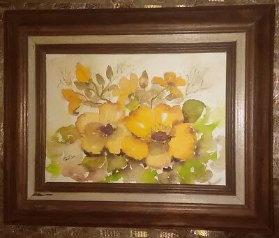 Watercolor Painting Artwork Signed by Gentila Framed 11.5 x 9.25 Flowers Floral