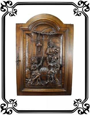 French Antique Middle Ages Hand Carved Walnut Wood Door Panel - Tavern 19th.c