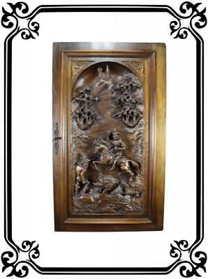 "Large 36 3/4"" Antique French Walnut Wooden Carved Panel Door Hunting Scene"