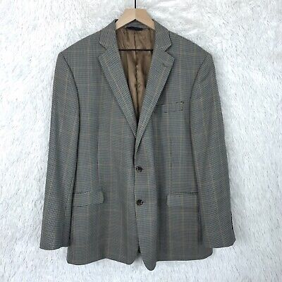 Brooks Brothers Regent Wool Sport Coat Gray Houndstooth Windowpane Mens 48R