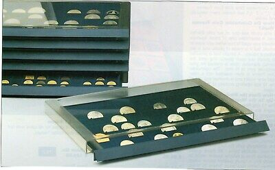 Pin Drawer Stackable Lined with Royal Blue Velour with Plastic Case New