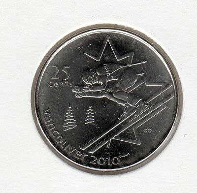 2010 Canada Vancouver Olympic 25 ¢ Coin - Alpine Skiing Uncirculated from Roll