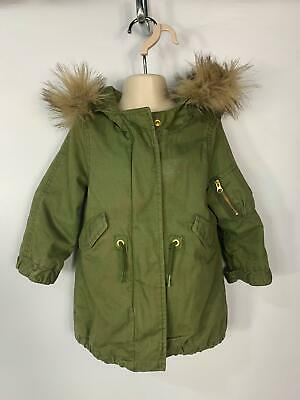 Girls Baby Gap Khaki Green Light Weight Hood Rain Coat Jacket Kids Age 2 Years