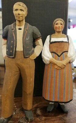 Antique Hand Carved Wooden Black Forest Man & Woman