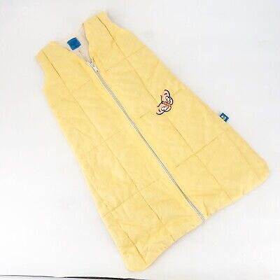 Vintage Baby Woolino Sz M 6-12 Months Sleep Sack Yellow Organic Zip Up Butterfly