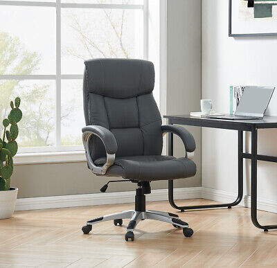 Grey Executive Office Chair PU Leather Padded Swivel Recliner Computer Game Seat