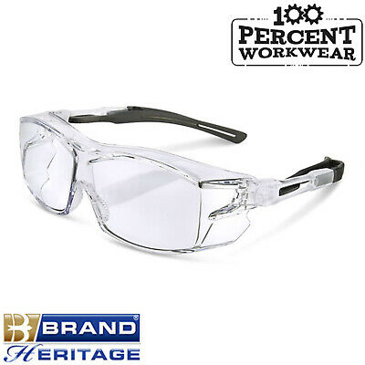 Clear Lens Safety Specs Spectacles Fits Over Prescription Glasses High Quality