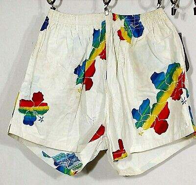 Vintage BSR Shorts Floral Swim Trunks Rainbow Hawaii Mens Special Request Flawed
